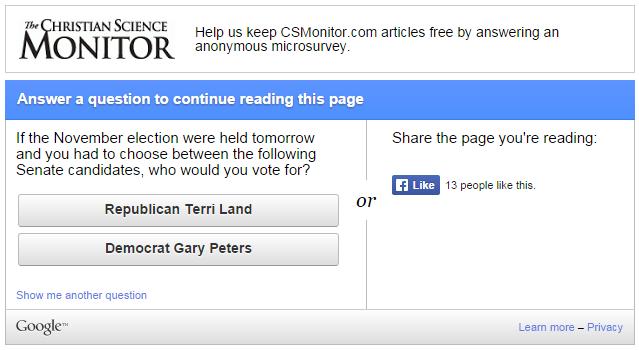 Screenshot of survey on a news website.