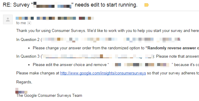 Screenshot of email from Google