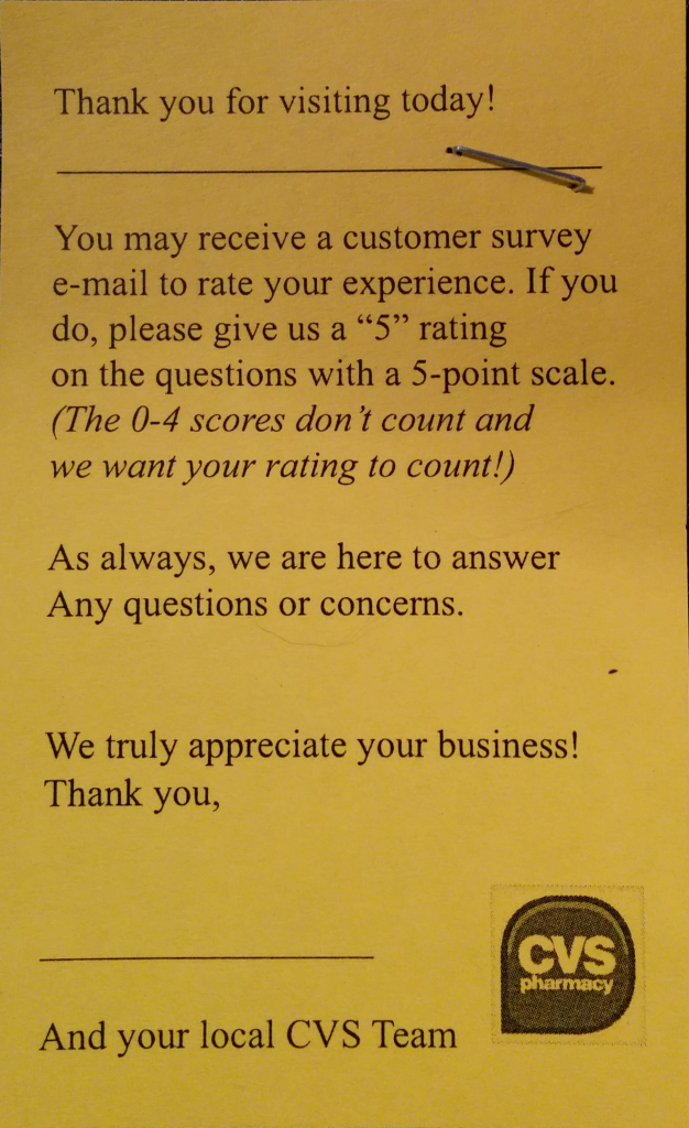 """Please give us a """"5"""" rating on the question with a 5-point scale. (The 0-4 scores don't count and we want your rating to count!)"""