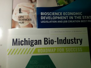 Handouts from the Bio-industry growth summit - showing different terms for life science or biotech