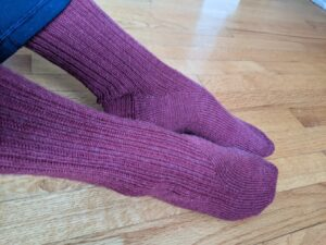 A photo of wool socks dyed with pokeberries